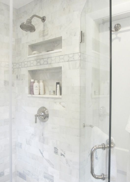 Seventy five arlington bathrooms white marble subway for Limestone bathroom designs