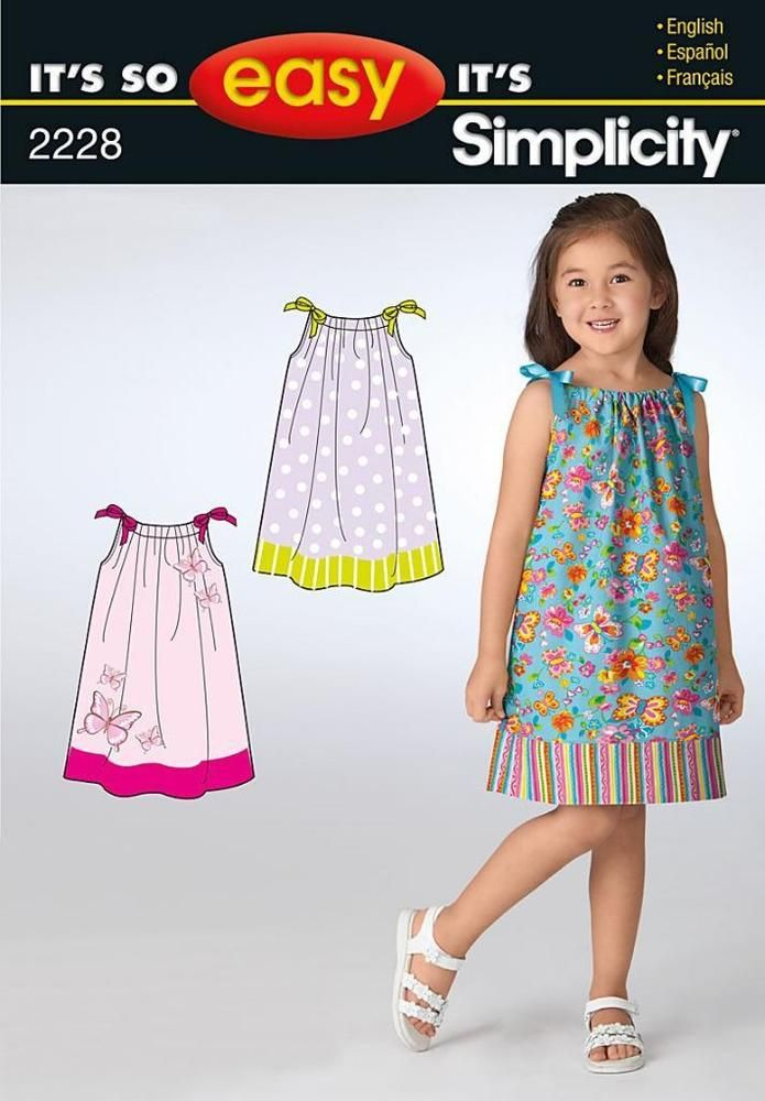 SIMPLICITY SEWING PATTERN It S So Easy Child PILLOWCASE Dresses 3 8 2228 SALE