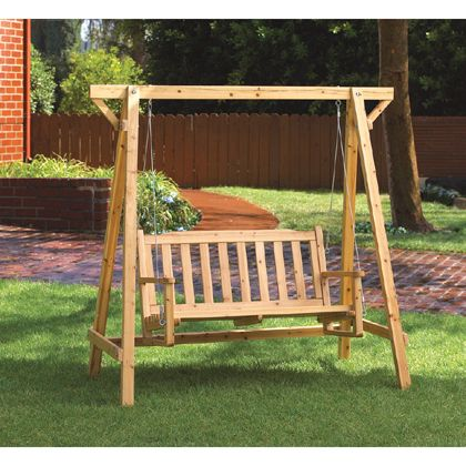 """Garden swing. Weatherproof for outdoor use. Oil and lacquer finish. Some assembly required. May require additional freight charge. 67 1/3"""" x 33 1/2"""" x 65"""" high."""