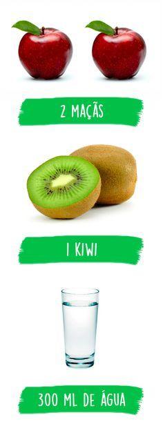 O suco de morango é uma ótima forma de completar a dieta e continuar emagrecendo porque é rico em fibras que ajudam a diminuir o apetite, facilitando a perda de peso. Este suco também tem poucas calorias, pois um copo possui apenas cerca de 30 calorias, e por isso é uma boa forma para substituir lanches mais calóricos. #suco #maçã #kiwi