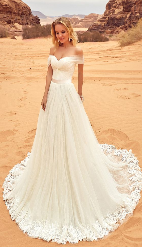 White Wedding Dresses Long Sleeveless Applique Sweep Train WF02G46 75