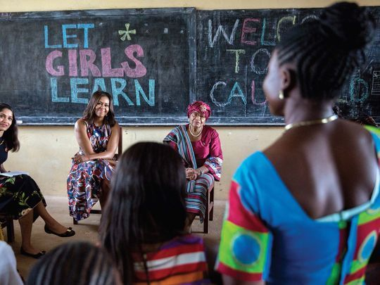 Michelle Obama took part in a discussion with Liberian President Ellen Johnson Sirleaf, actress Freida Pinto and students at R.S. Caulfield Senior High School in Unification Town, Liberia, in 2016.