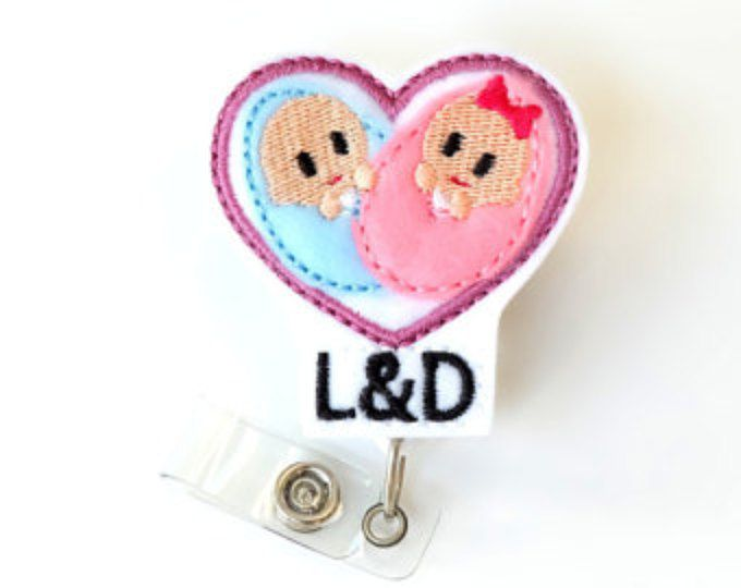 Twin Baby Badge Reel - Labor and Delivery Nurse Gifts - L&D RN Name Badge Holders - Felt Badge Clips - OB Tech Badge Pulls - BadgeBlooms