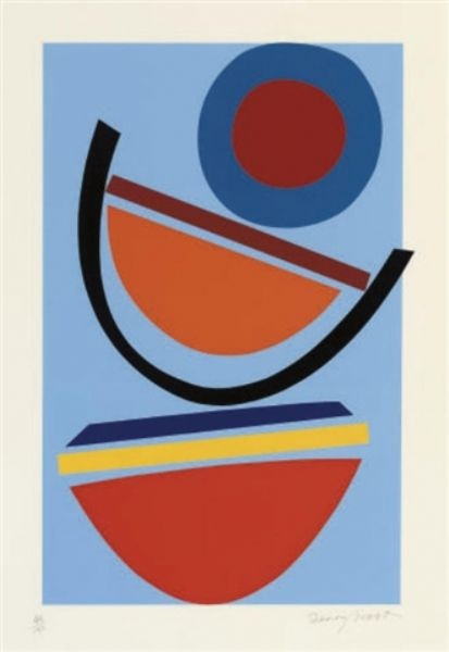 Sir Terry Frost (1915-2003) was a British artist and teacher who created works in abstract shapes grounded in natural forms that used colour and light to produce a sense of delight in life. Frost began his career as a painter while a prisoner of war in Germany during World War II.