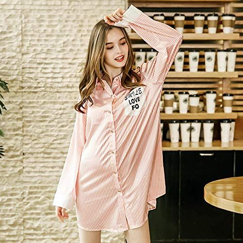 YUANZ Home Summer Girl Nightdress Shirt-Style Cardigan Pajamas Female Long-Sleeved  Silk Silk Striped Home Service (Color   Pink bdcbaad77