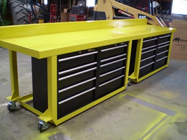 "For Sale: Custom Built Work Benches made to order.  Heavy duty work benches. The top is made from 11 ga. steel (approx 1/8"") and is formed either flat or with a back splash (seen in photos). Legs are 3""x 3"" 1/8"" tubing.  Options: 1) Mid height shelf with ply wood or sheet/expanded metal 2) Your choice of numerous tool chests or drawers. (I usually use Craftsman roller bearing cabinets)  Your choice of casters: two casters, two rigid, or four casters, or more..."