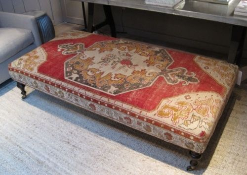 I LOVE this idea and I totally plan on taking one of my parents' old Oriental rugs to make this happen.