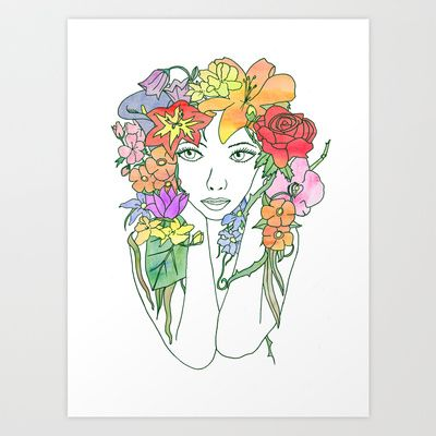 Beauty in Bloom - Lined Art Print by Cazzasaurus - $15.00