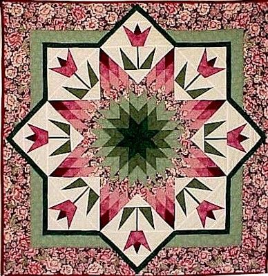 """""""Spring Star"""" designed by Judy Martin for her book, Shining Star Quilts, 1987. This lovely example was made by Roxanne Carter."""