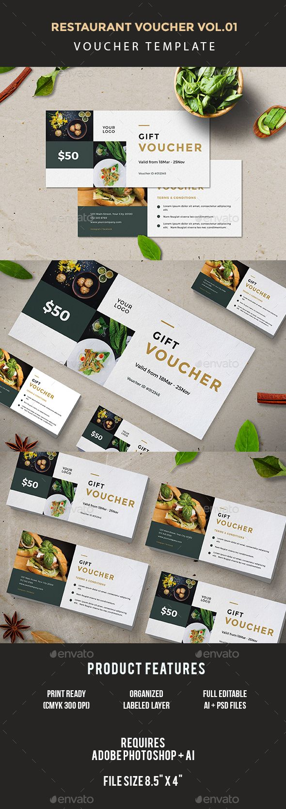 Restaurant Voucher Design Template - Loyalty Cards Cards & Invites Templaye PSD, AI Illustrator. Download here: https://graphicriver.net/item/restaurant-voucher/17452483?ref=yinkira