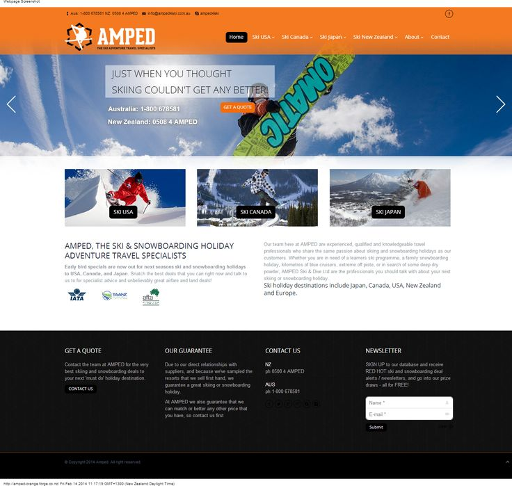The new Amped 4 Ski home page: www.amped4ski.com.au