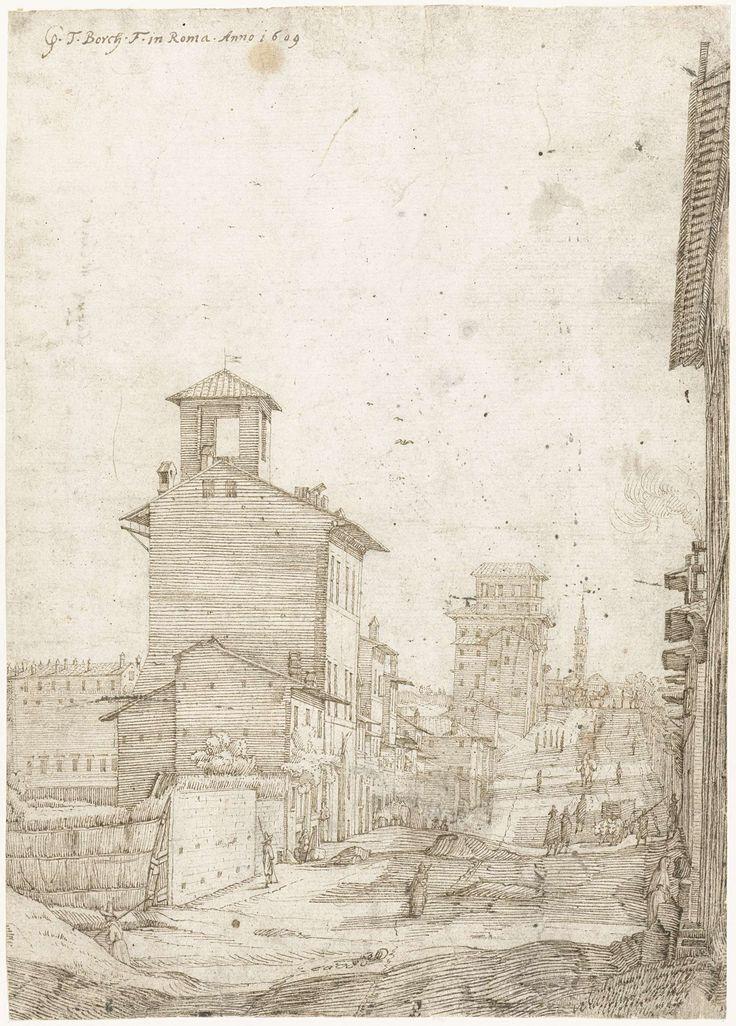 Gerard ter Borch (I) | Gezicht op de Via Panisperna naar de Santa Maria Maggiore, Rome, Gerard ter Borch (I), 1609 |