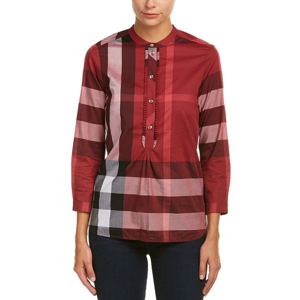 Burberry Check Grandad Collar Shirt ($290) ❤ liked on Polyvore featuring tops, red, red top, grandpa shirts, burberry shirt, red shirt and 3/4 sleeve tops