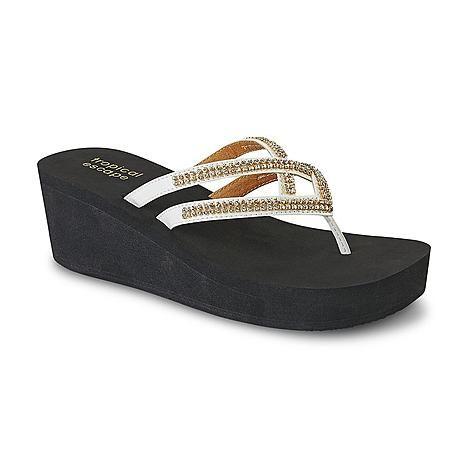 Tropical Escape Women's Maui Black/White/Rhinestone Platform Sandal