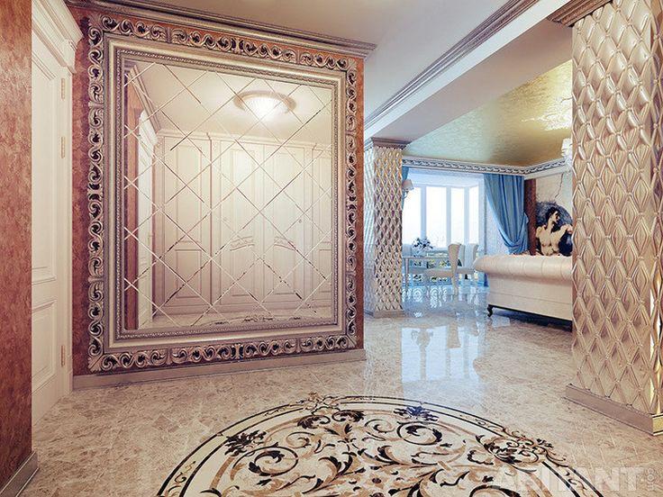 Розовая мраморная плитка в гостиной