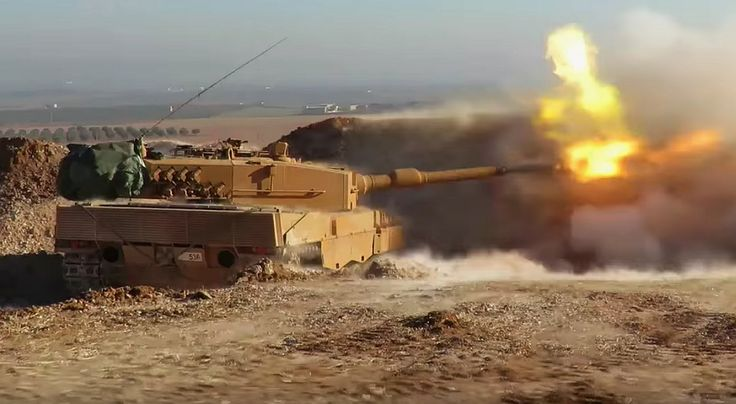 Turkish Army's Leopard 2A4 MBTs engaged in offensive vs ISIS in al Bab.