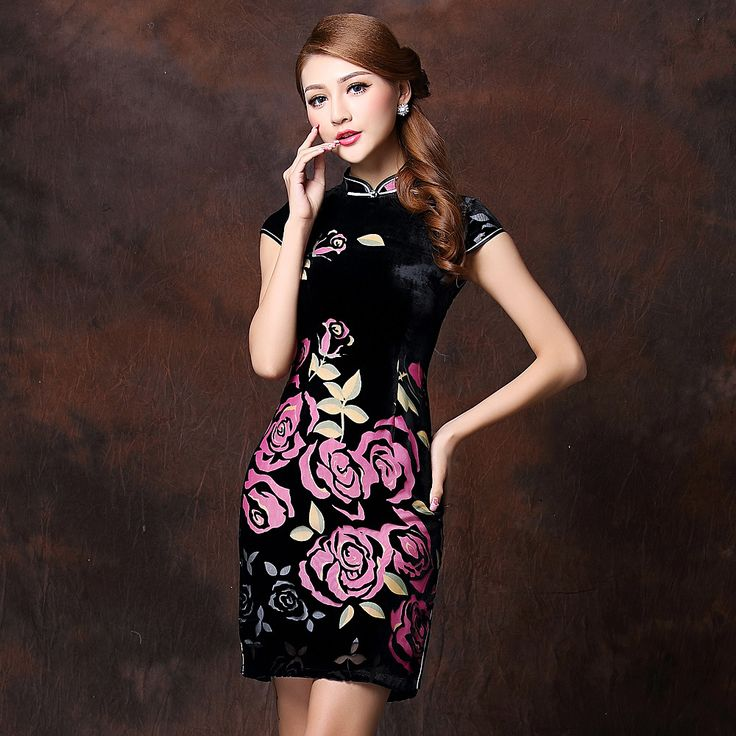 Attractive Black Velvet Cheongsam Qipao Dress - Pink Roses - Qipao - Cheongsam - Women
