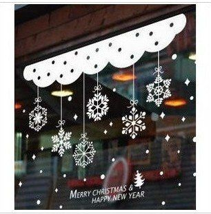 Free  shipping  Romantic houseful glass decorative window curtain shop christmas snowflakes on AliExpress.com. 10% off $17.64
