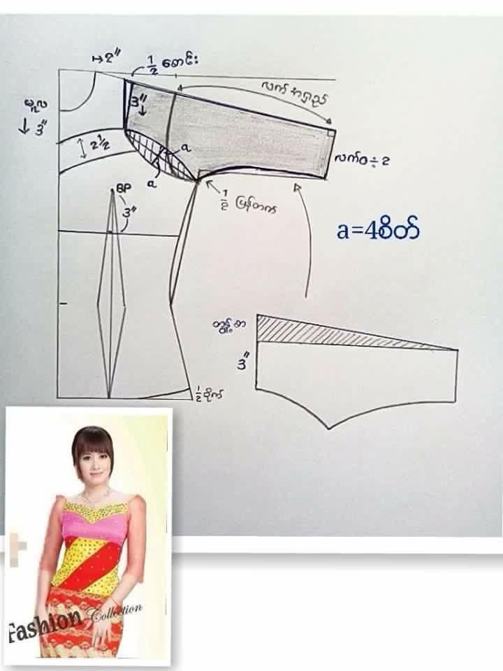 Pin de Jue Jue em myanmar dress pattern   Customização de roupas ...