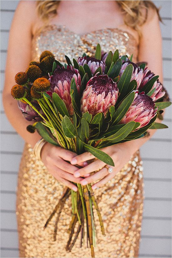protea wedding bouquet - love the quirky feel of this.