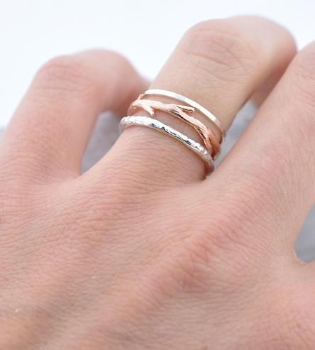Silver Bands & Rose Gold Twig Ring Set