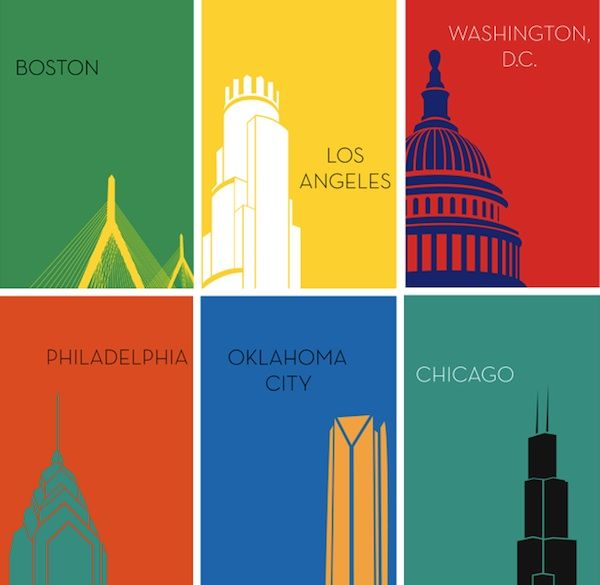 boldly colored minimalist city posters featuring iconic urban structures poster design inspirationdesign postersgraphic
