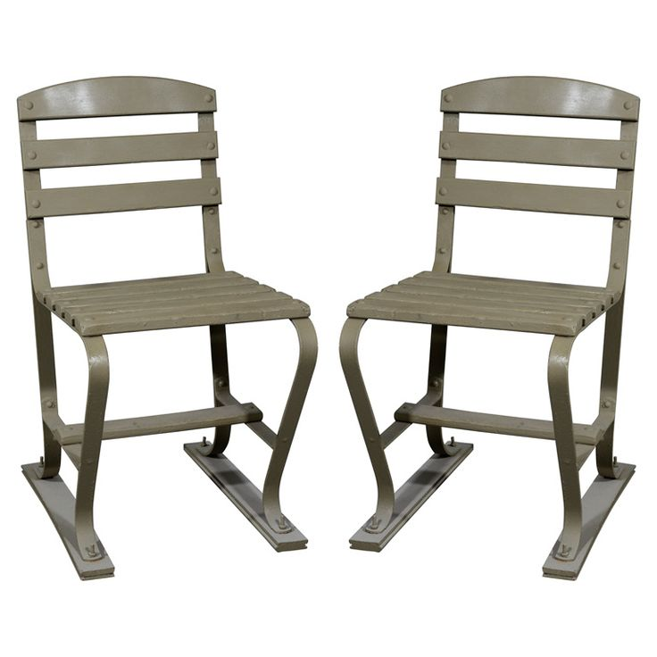 American Wood and Metal Garden Chairs   From a unique collection of antique and modern garden furniture at http://www.1stdibs.com/furniture/building-garden/garden-furniture/