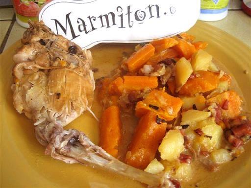 Lapin au vin blanc (à la cocotte) - Recette de cuisine Marmiton : une recette