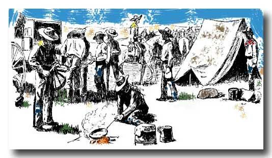 """The Chuckwagon- """"Had us a fine trail breakfast this here mornin'…not too fussy neither!   Fried up some bacon real crispy and served it up with cold soda biscuits to dip in the grease."""