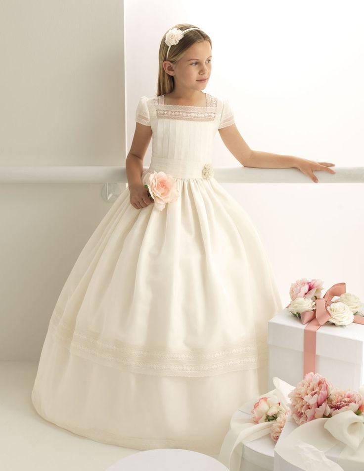 Nectarean Ball Gown Short Sleeve Hand Made Flowers Floor-length Communion Dresses - http://blog.oncewedding.com/2015/09/11/nectarean-ball-gown-short-sleeve-hand-made-flowers-floor-length-communion-dresses/