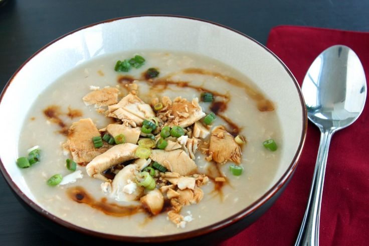 Brown Rice Congee is a comforting rice porridge. I like to top my congee with chicken, green onions, sesame oil and tamari making it gluten free.