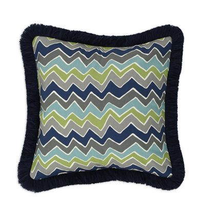 See Saw Felix Blue 17x17 Navy Fringed Pillow Accessories