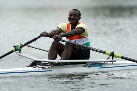 Niger's Hamadou Djibo Issaka at Eton Dorney Rowing Lake, Windsor. He has become a London cult hero for his efforts on Lake Dorney. #olympics