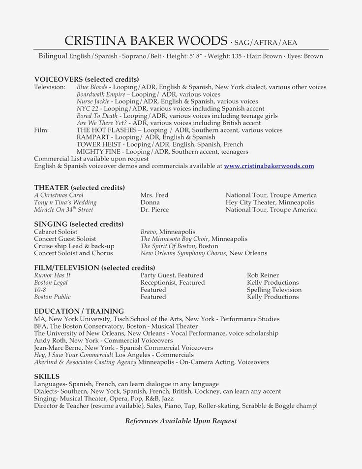 Acting resume template no experience inspirational acting