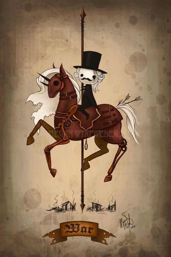 War 8x12 digital art lustre print Four Horsemen Halloween art, via Etsy.