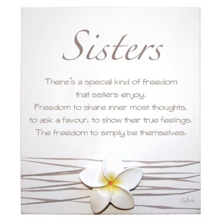 Splosh White Frangipani 'Sisters' Poem Sentiment Plaque with metal stand