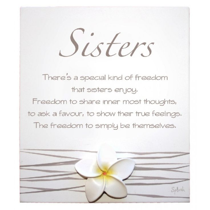 Splosh White Frangipani 'Sisters' Poem Sentiment Plaque with metal stand