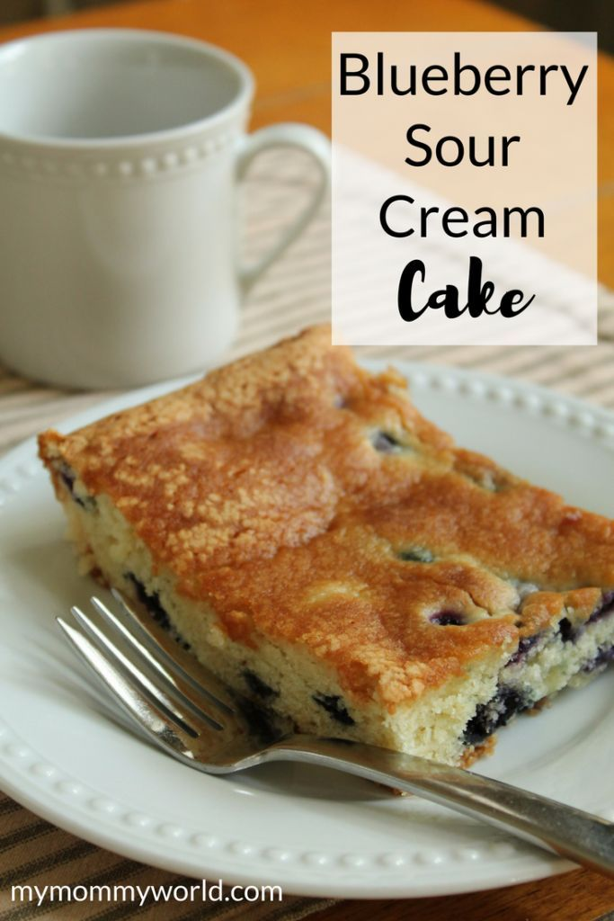 This easy blueberry sour cream cake recipe is not only a cinch to make, it's but moist and delicious too! A sour cream dessert recipe, it uses fresh blueberries to create an easy snack cake that you can pack into lunch boxes or enjoy with a cup of coffee at breakfast or dessert. Making a cake from scratch was never this easy! (sponsored) #DairyPureSourCream