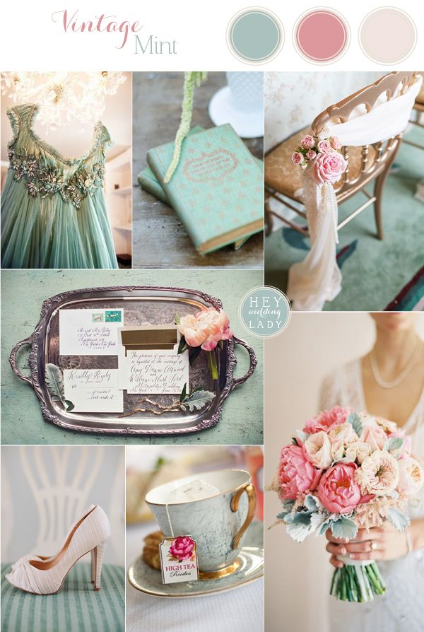 Vintage Mint Antique Sea Foam And Blush Wedding
