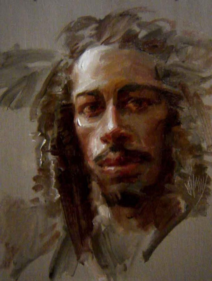 """Jafar"" 1.5 hour portrait class demonstration stressing a limited color palette  14"" x 11"" oil by John Kilroy"