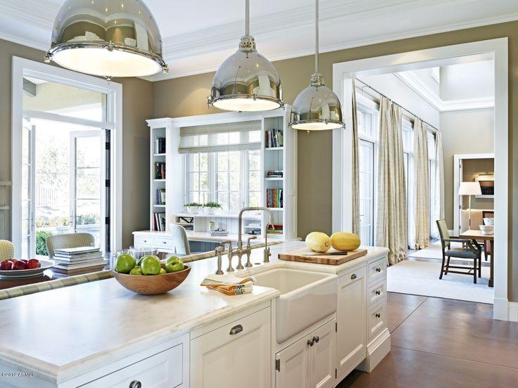 : Dreams Kitchens, Open Spaces, Brown Kitchens, Custom Home, Kitchens Ideas, Craftsman Kitchens, Farms Sinks, White Kitchens, Kitchens Sinks