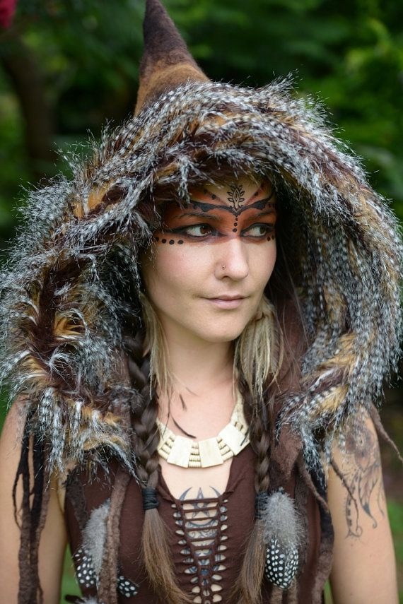 Felt Melted Wild Pixie Woodland Guinea Fowl Feather Tribal Scoodie Fur Trimmed Hooded Hat OOAK on Etsy, £104.87