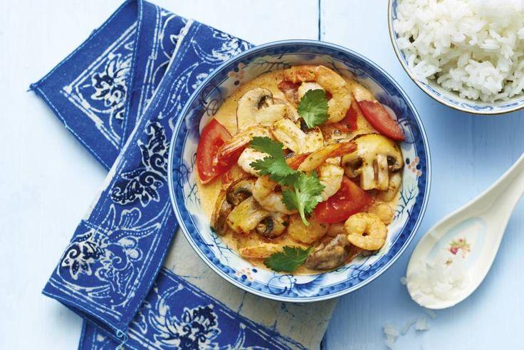 Kijk wat een lekker recept ik heb gevonden op Allerhande! Thaise garnalencurry met tomaat