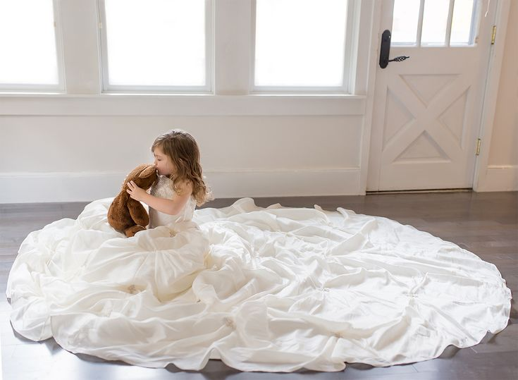 Toddler Girl in Mom's Wedding Dress