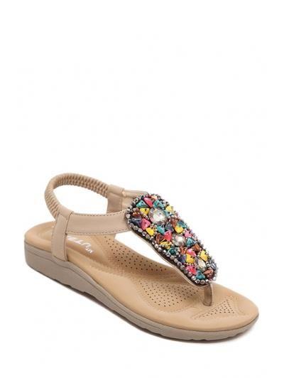 De diamantes de imitación de piedra colorido sandalias elásticas