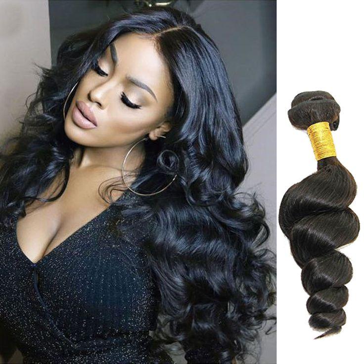 50g/Bundle Brazilian Real Human Hair Extension Loose Wave Hair Weft Weave Black #WaveBundle
