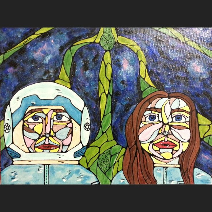 Art space drawind by atatay космос, лицо, люди, космонавт, рисунок, ататай
