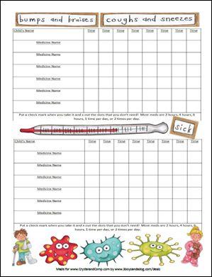 FREE: Printable Medicine Chart For Kids
