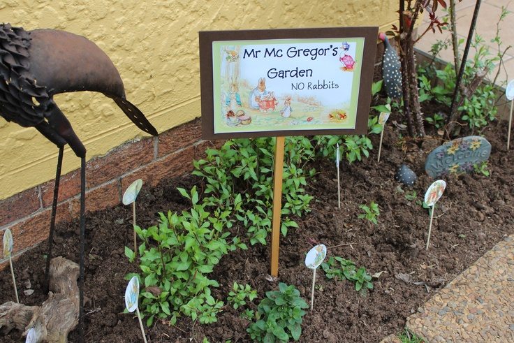 Mr Mc Gregors Garden - No rabbits - fun sign to make for a Peter Rabbit baby shower