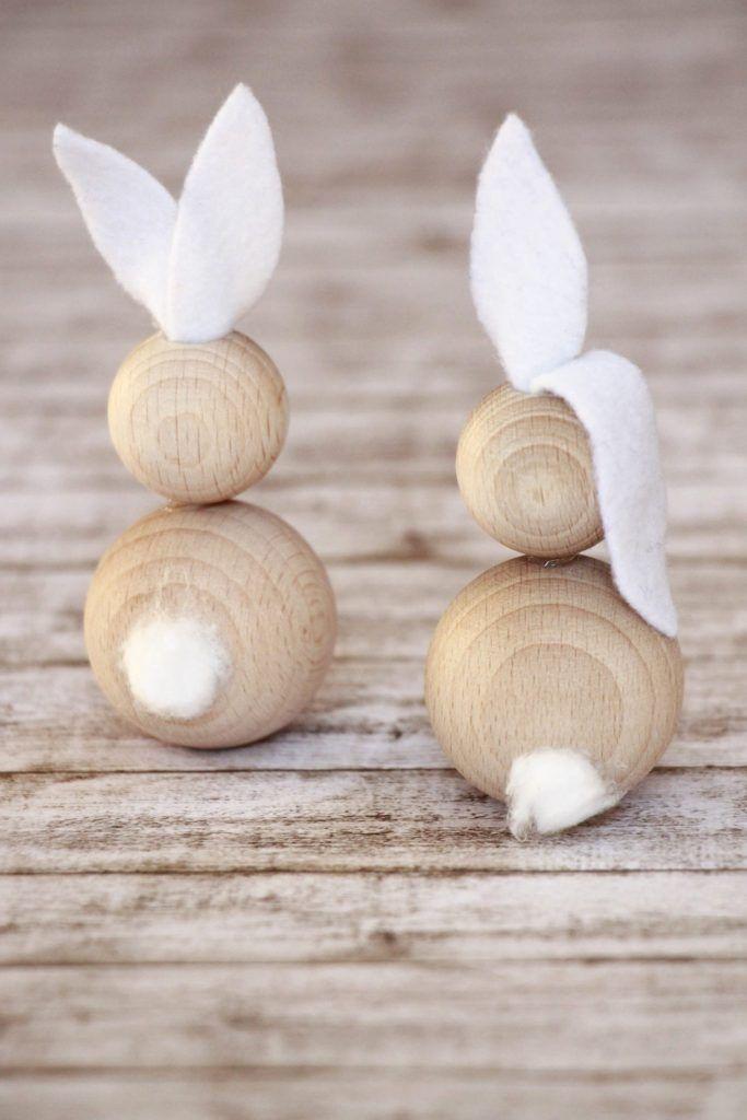 Idées de bricolage de Pâques pour les lapins en bois #Basteln # Holzkugeln # Ideas # …